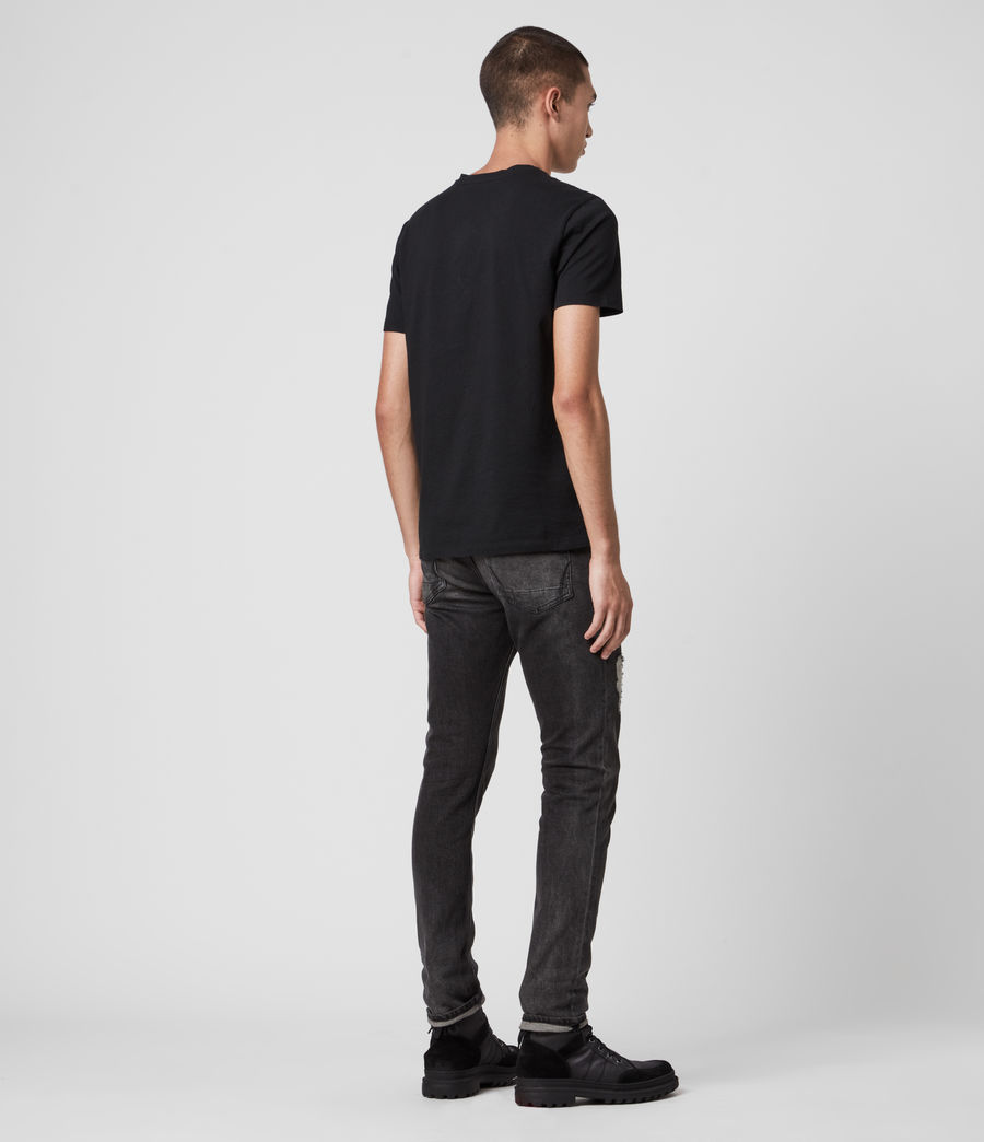 Mens Rex Damaged Slim Jeans, Washed Black (washed_black) - Image 7