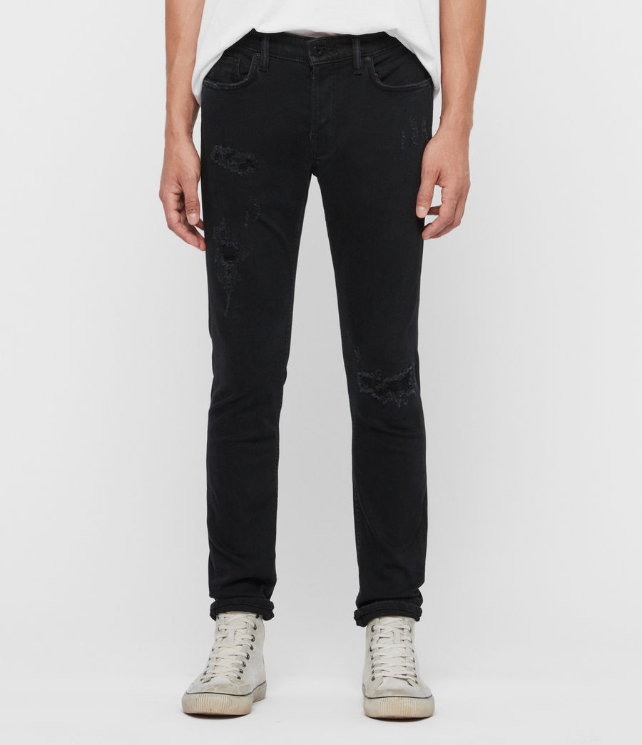 Men's Rex Damaged Slim Jeans, Black (black) - Image 1