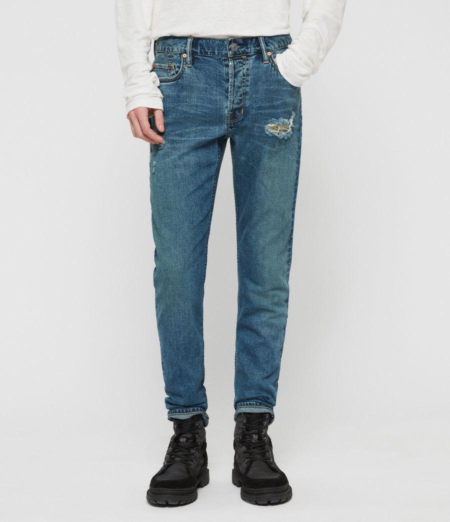 Mens Rex Damaged Slim Jeans, Indigo Blue (indigo_blue) - Image 1