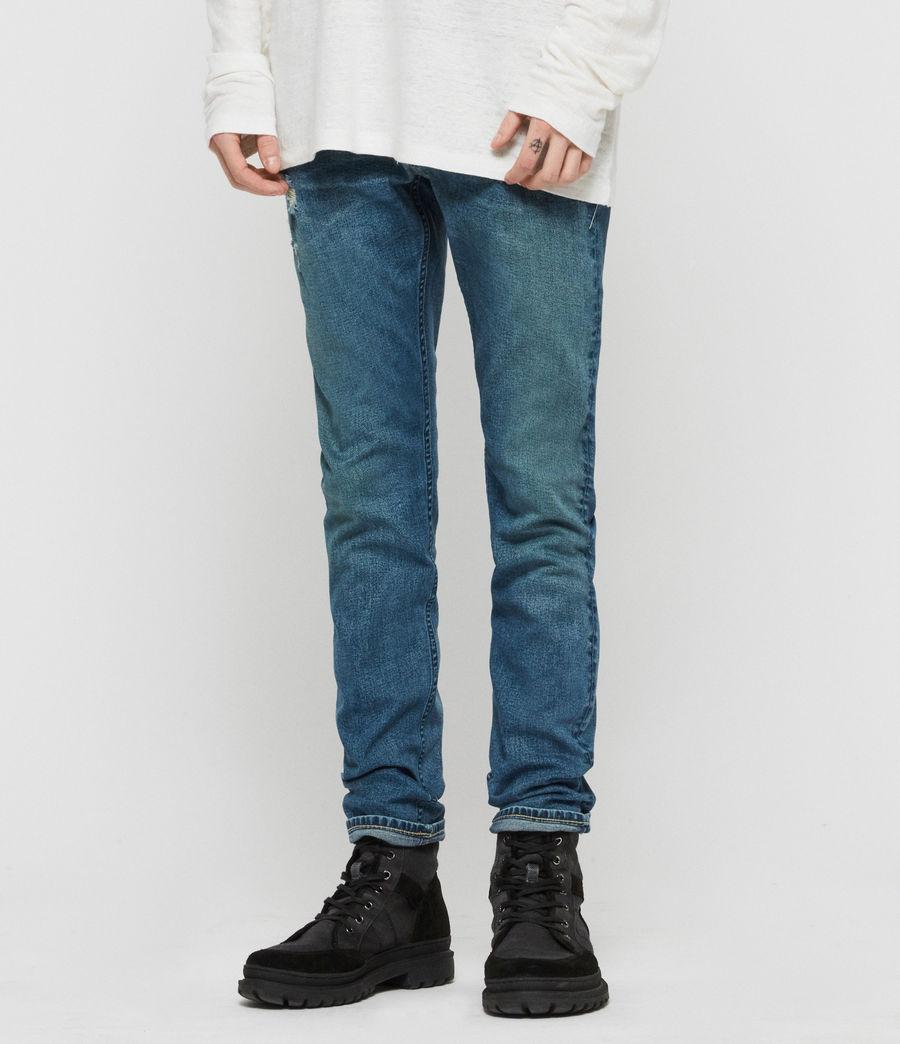 Mens Rex Damaged Slim Jeans, Indigo Blue (indigo_blue) - Image 2