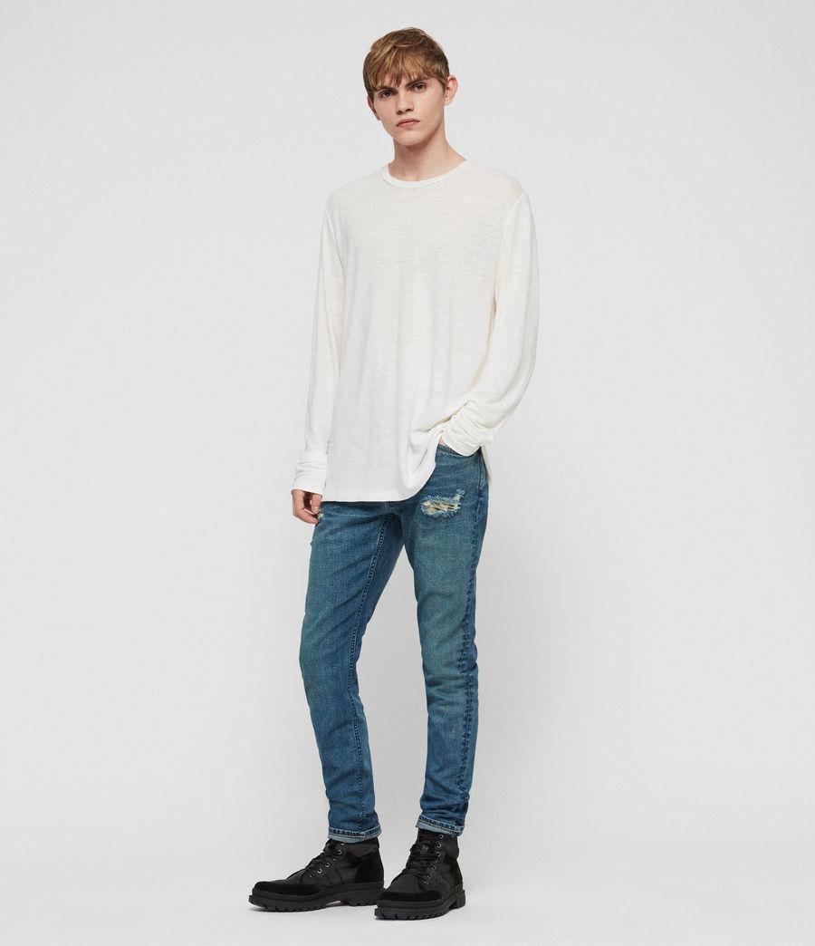 Mens Rex Damaged Slim Jeans, Indigo Blue (indigo_blue) - Image 3