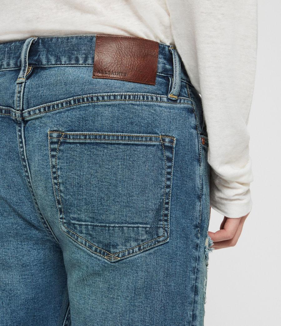 Mens Rex Damaged Slim Jeans, Indigo Blue (indigo_blue) - Image 5