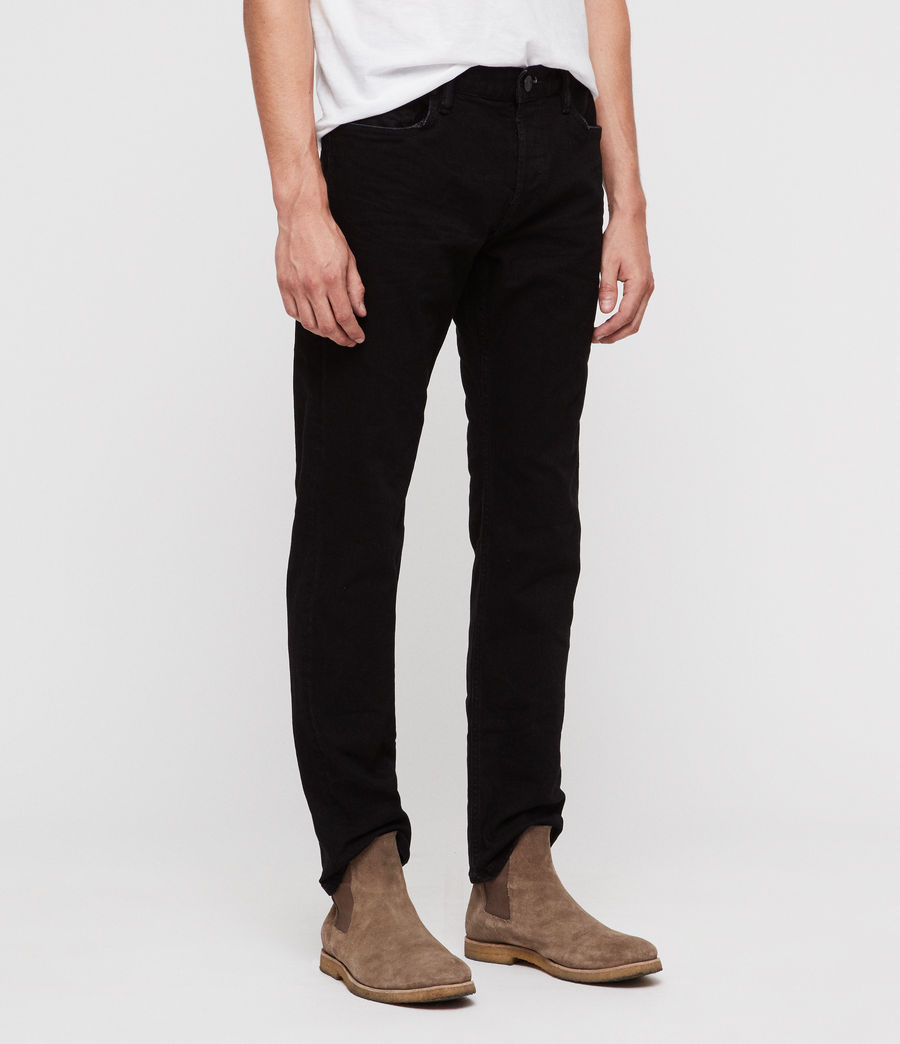 Mens Reed Straight Slim Jeans (jet_black) - Image 4