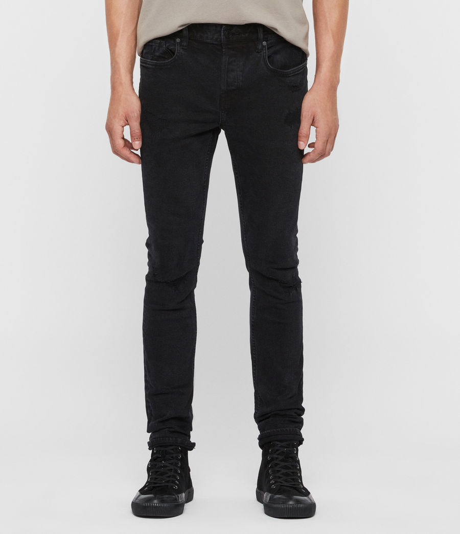 Mens Cigarette Damaged Skinny Jeans, Black (black) - Image 1