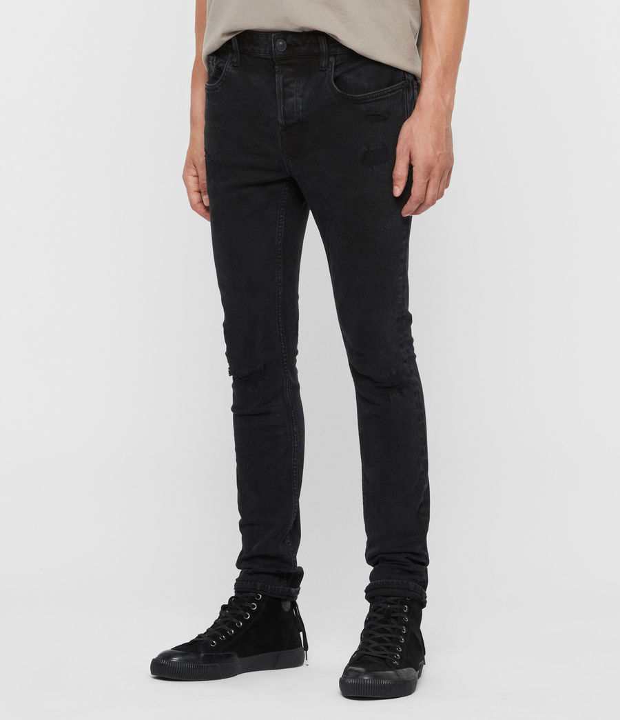 Mens Cigarette Damaged Skinny Jeans, Black (black) - Image 4