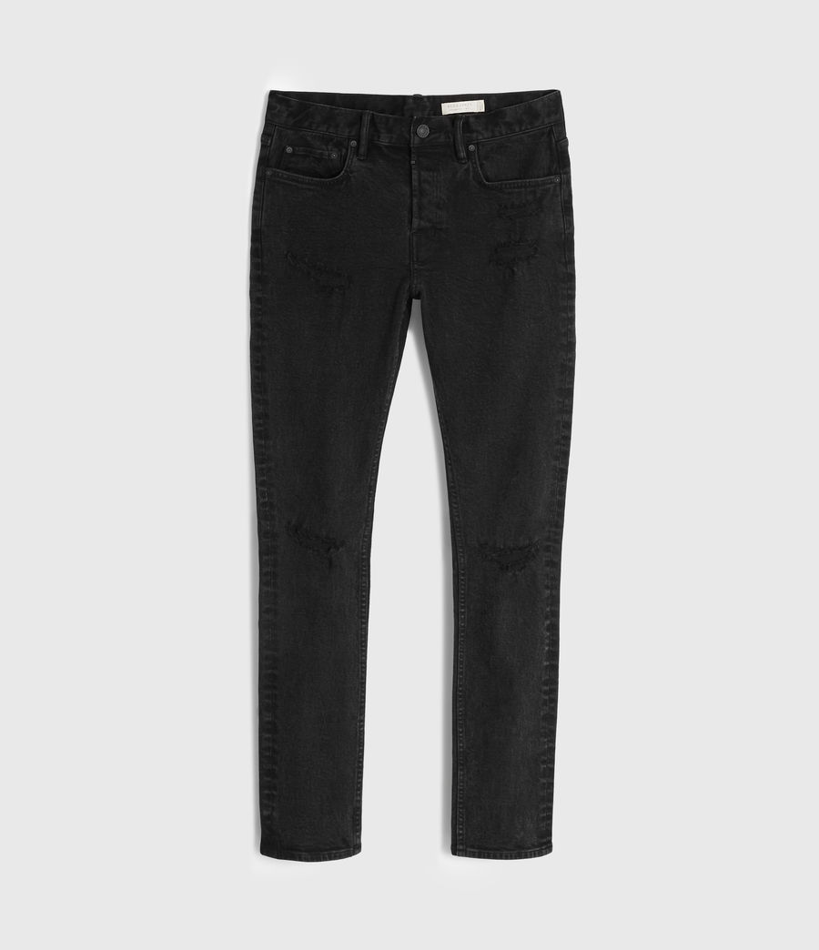 Mens Cigarette Damaged Skinny Jeans, Black (black) - Image 7