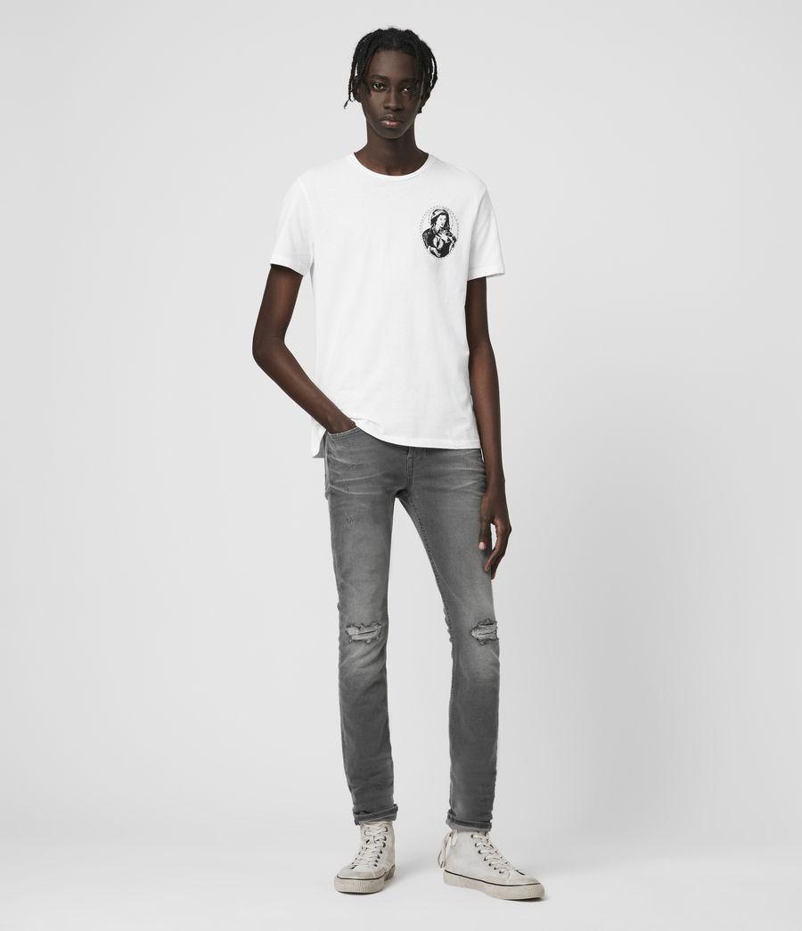 Hombre Cigarette Damaged Skinny Jeans, Grey (grey) - Image 1
