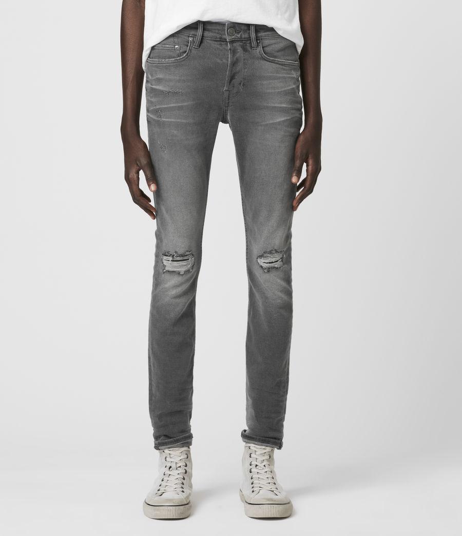 Men's Cigarette Damaged Skinny Jeans, Grey (grey) - Image 3
