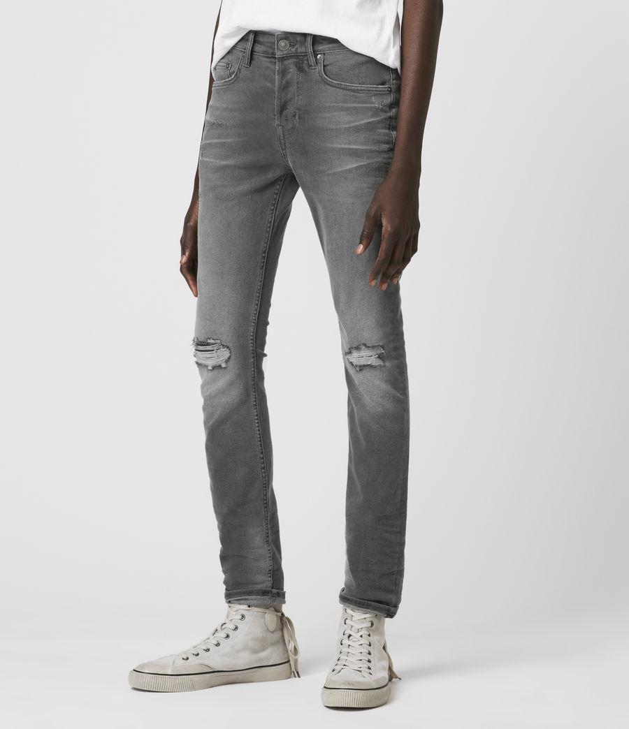 Hombre Cigarette Damaged Skinny Jeans, Grey (grey) - Image 3