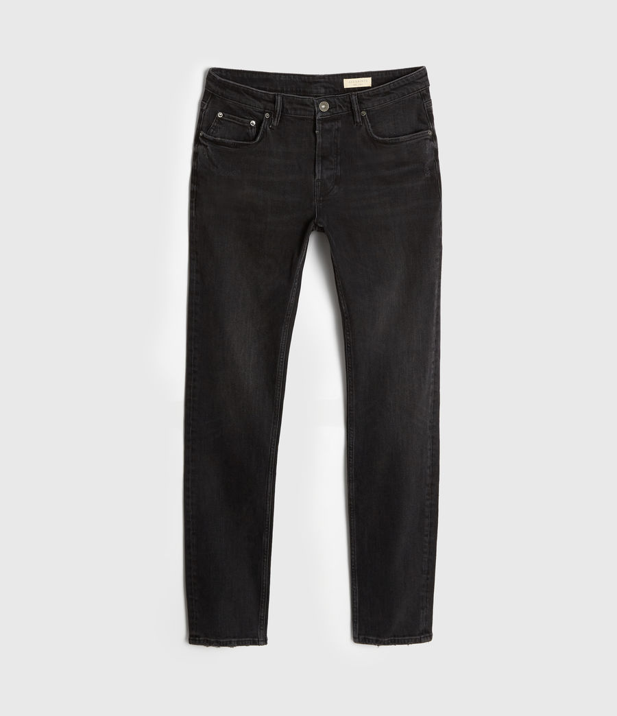 Men's Rex Damaged Slim Jeans, Washed Black (washed_black) - Image 6