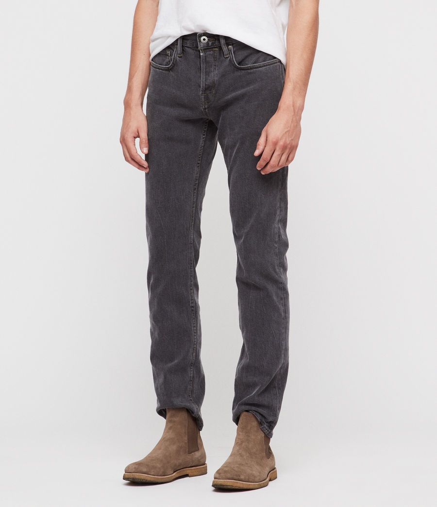 Hombres Reed Straight Slim Jeans (washed_black) - Image 1