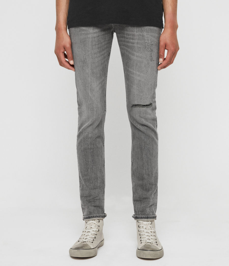 Mens Cigarette Damaged Skinny Jeans, Grey (grey) - Image 1