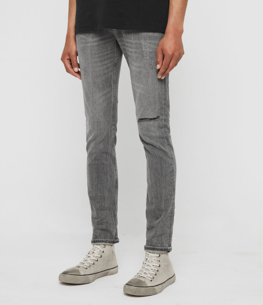 Mens Cigarette Damaged Skinny Jeans, Grey (grey) - Image 4