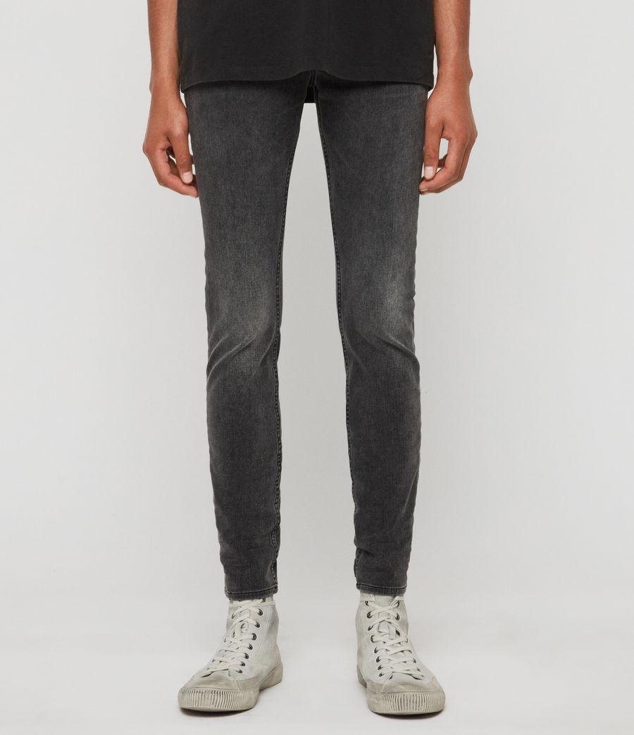 Mens Cigarette Skinny Jeans, Dark Grey (dark_grey) - Image 1