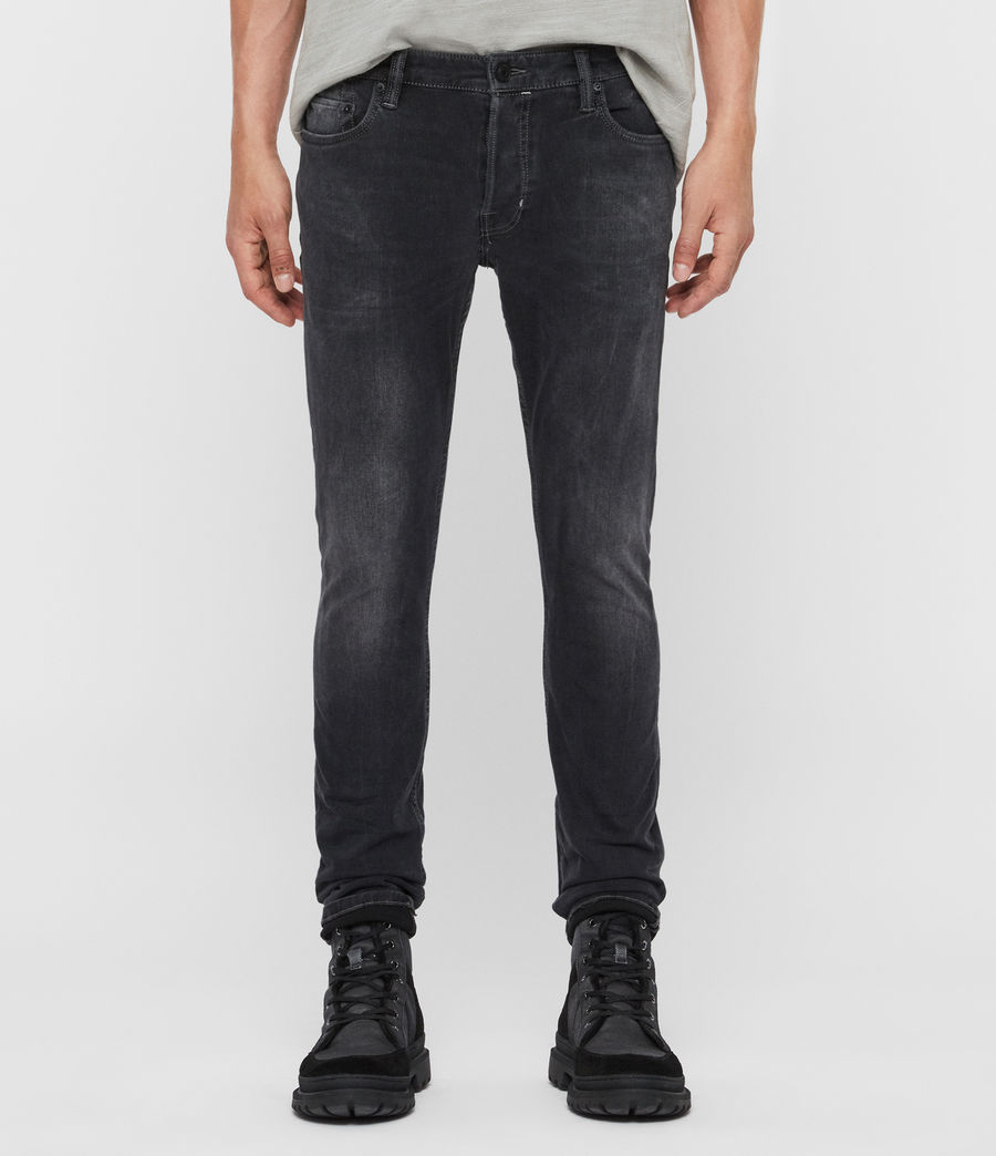 Mens Cigarette Skinny Jeans, Washed Black (washed_black) - Image 1