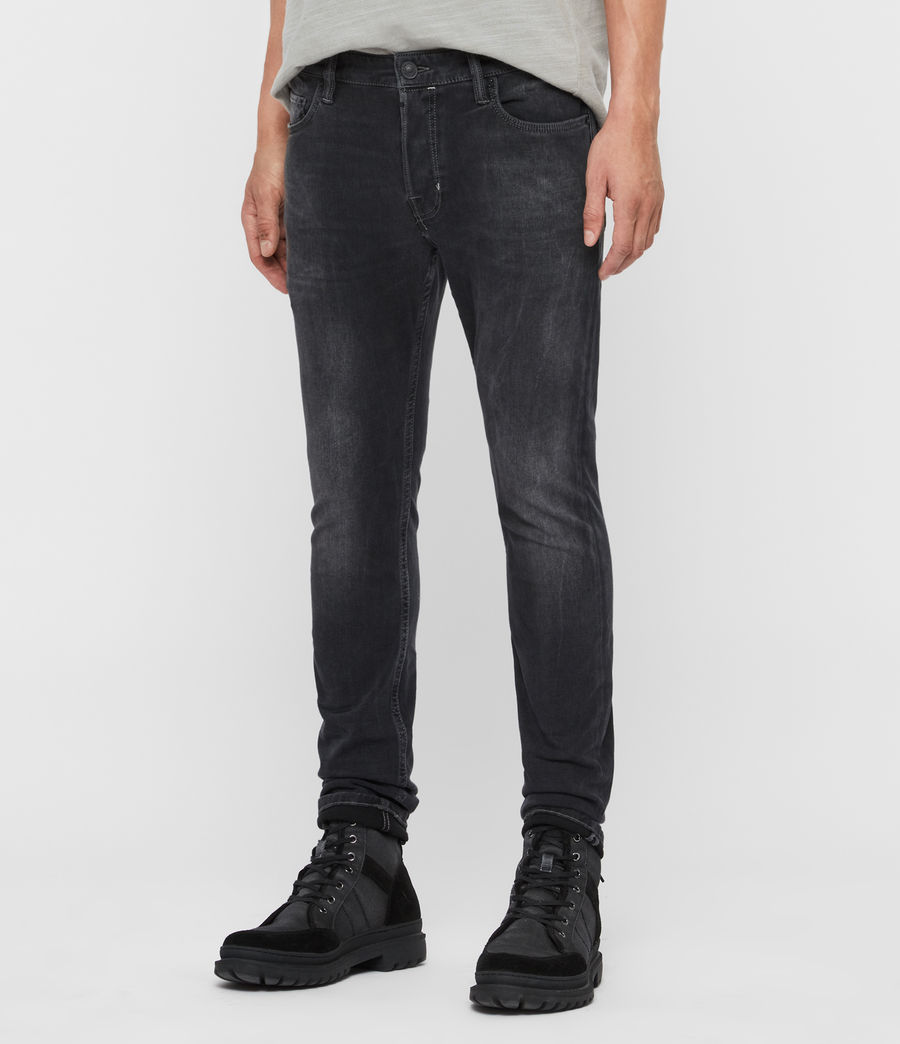 Mens Cigarette Skinny Jeans, Washed Black (washed_black) - Image 4