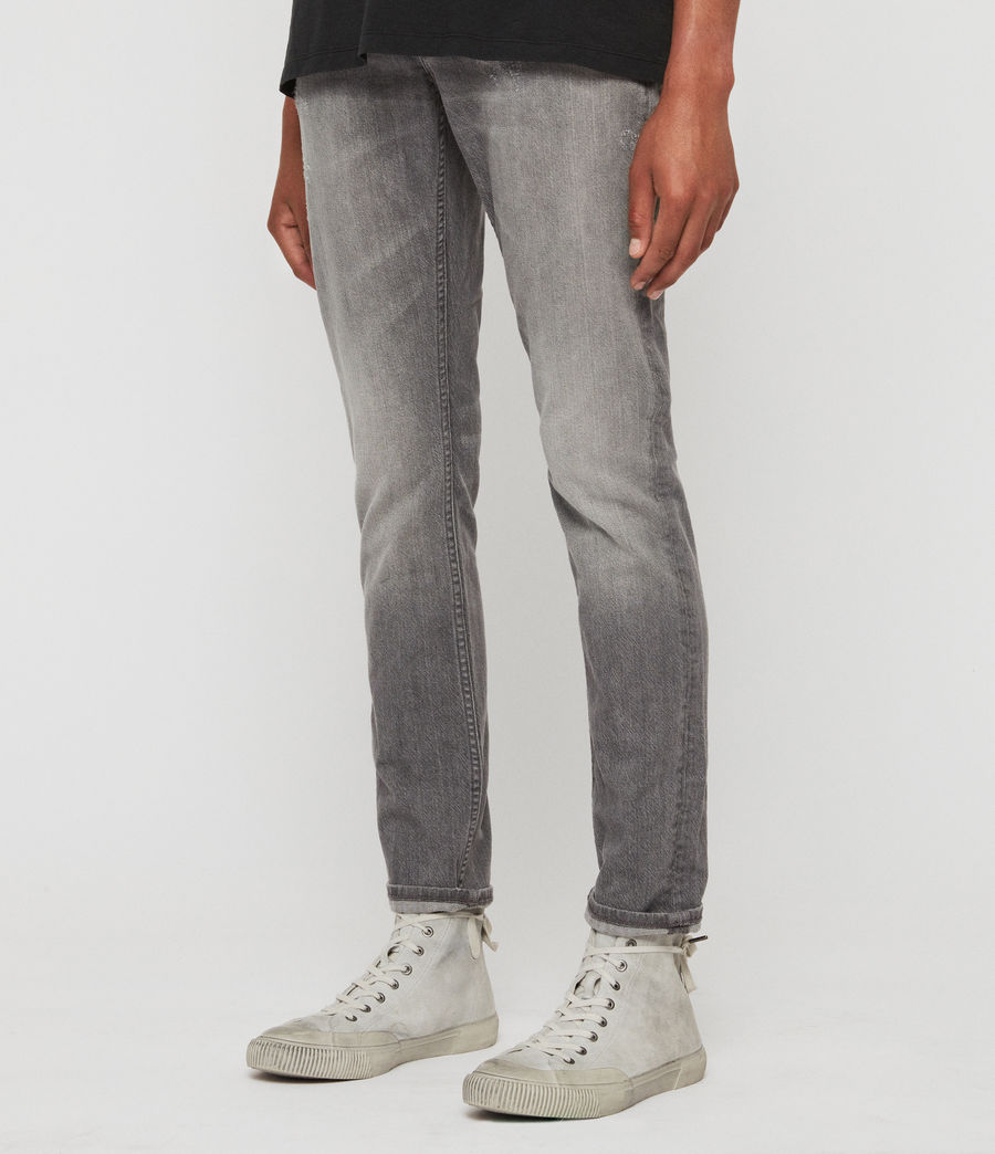 Mens Rex Damaged Slim Jeans, Grey (grey) - Image 2