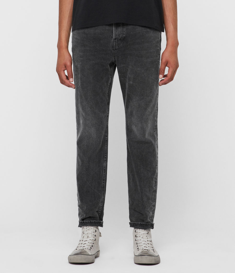 Mens Ridge Tapered Jeans, Washed Black (washed_black) - Image 1