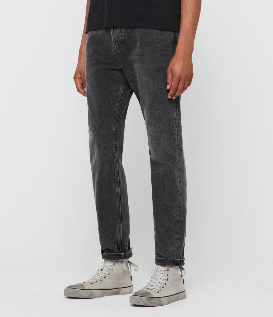 Mens Ridge Tapered Jeans, Washed Black (washed_black) - Image 4