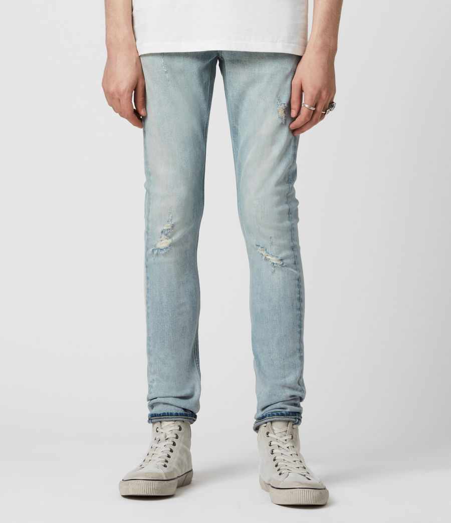 Men's Cigarette Damaged Skinny Jeans, Light Indigo (light_indigo) - Image 1