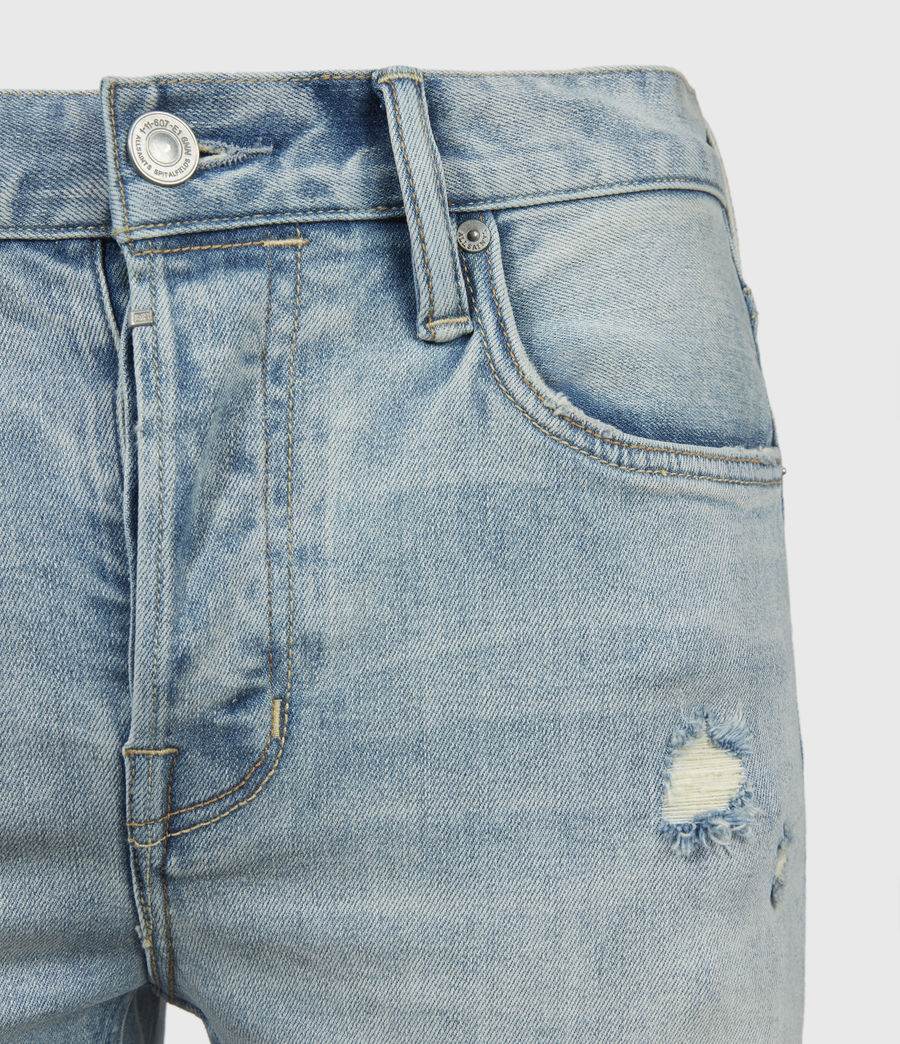 Hombre Cigarette Damaged Skinny Jeans, Light Indigo (light_indigo) - Image 4