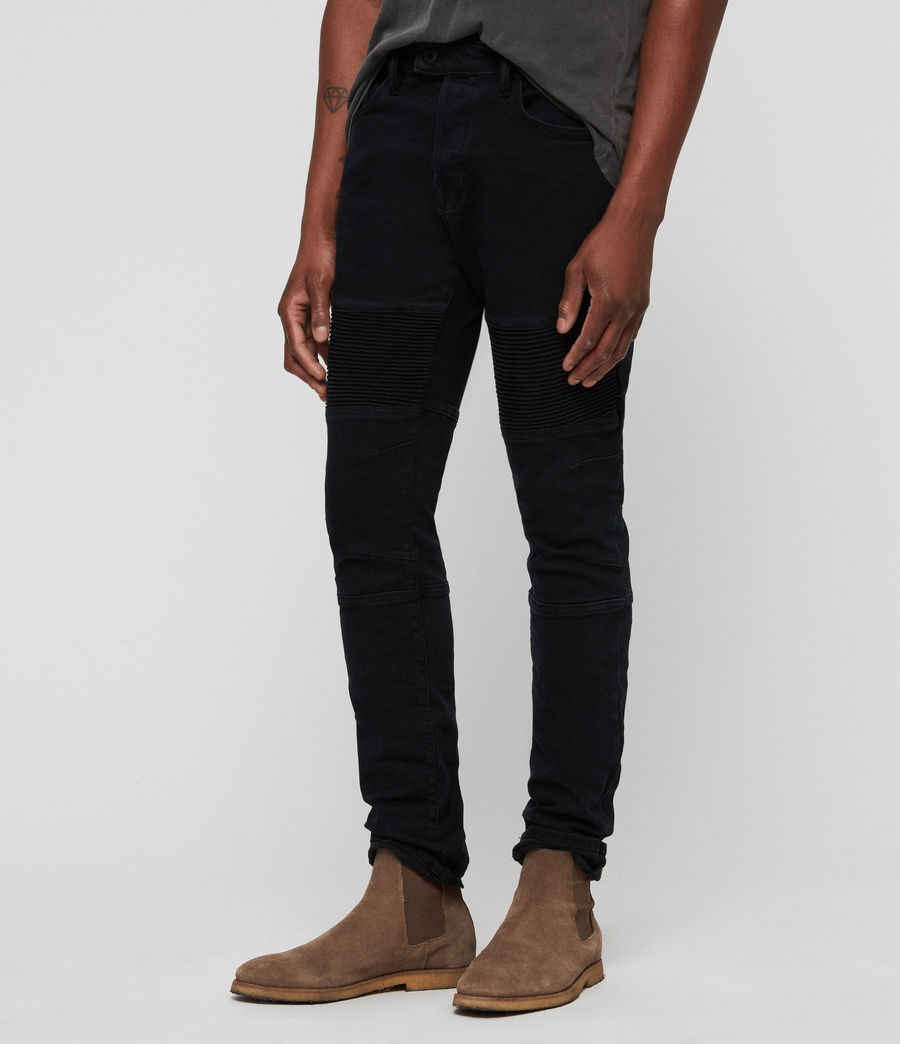 Mens Biker Skinny Jeans (black) - Image 4
