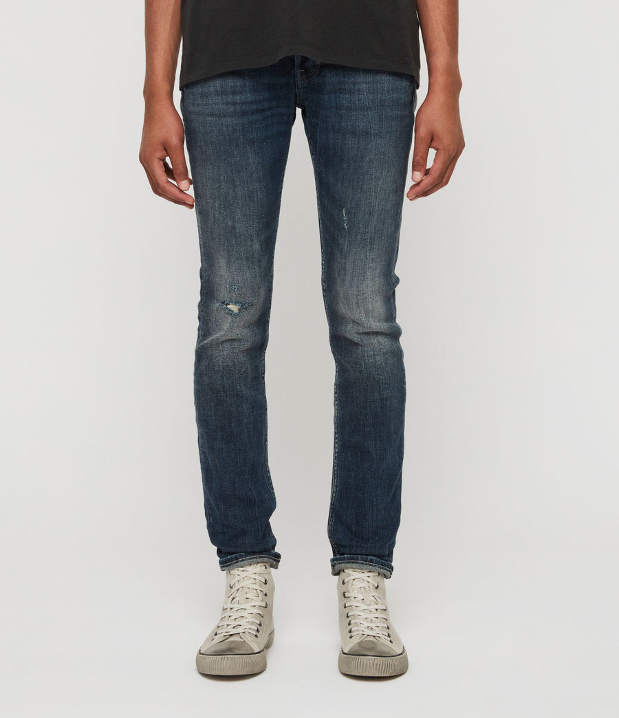 Men's Cigarette Damaged Skinny Jeans, Indigo (indigo) - Image 1