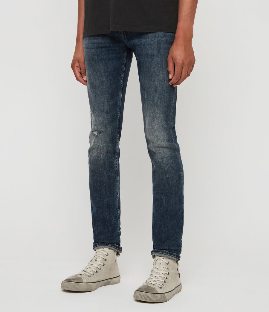 Men's Cigarette Damaged Skinny Jeans, Indigo (indigo) - Image 4