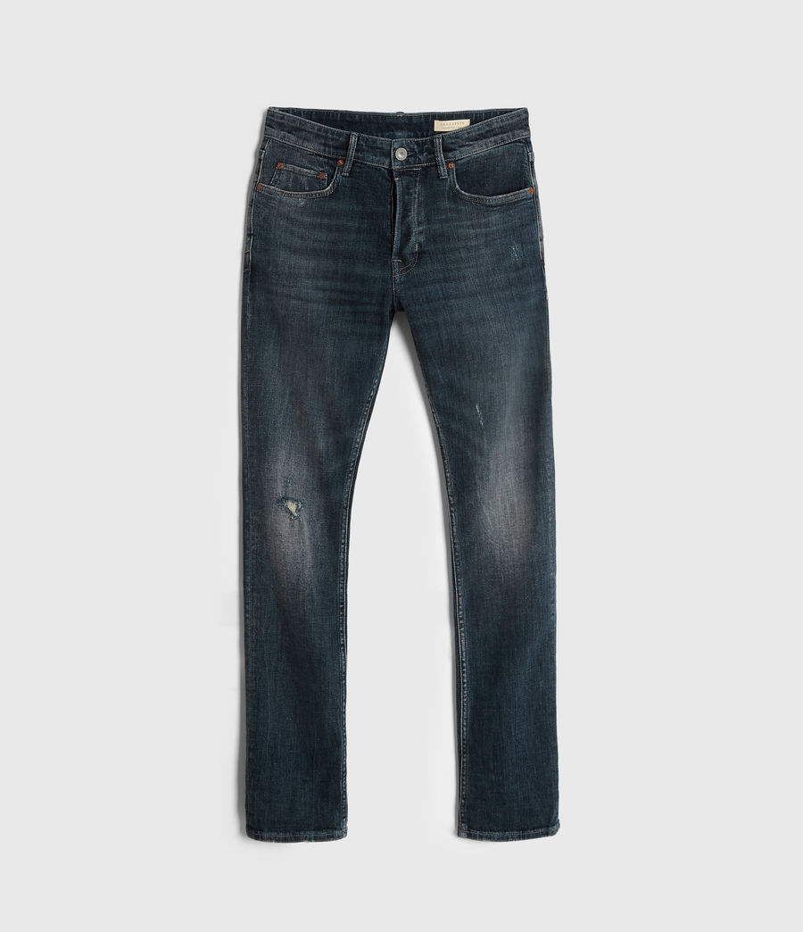 Men's Cigarette Damaged Skinny Jeans, Indigo (indigo) - Image 6