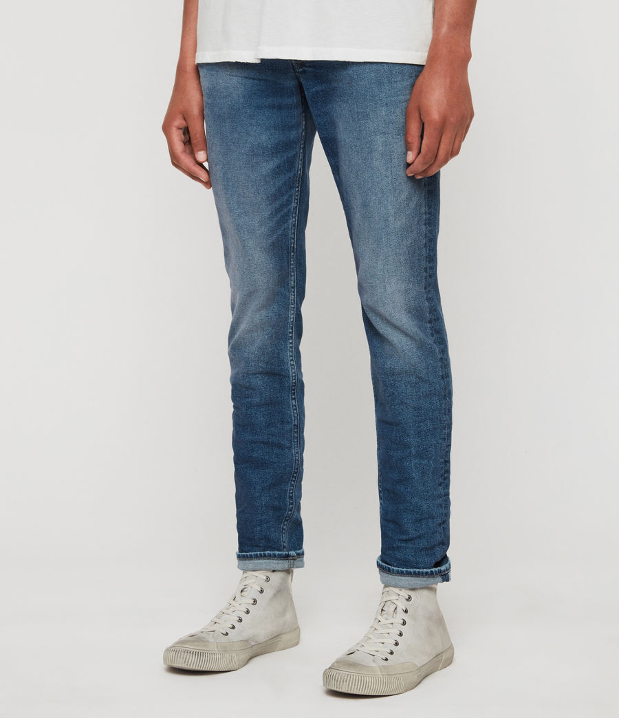 Mens Rex Slim Jeans, Light Indigo Blue (light_indigo_blue) - Image 2