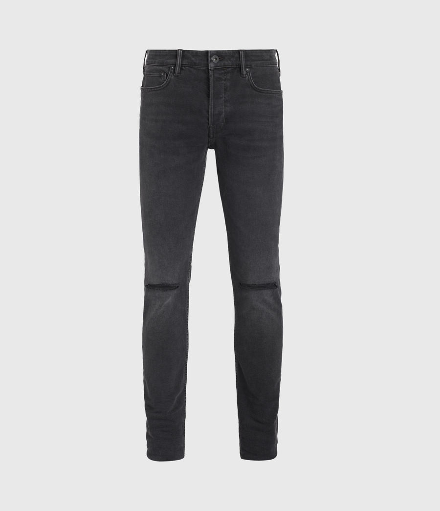 Mens Cigarette Damaged Skinny Jeans, Washed Black (washed_black) - Image 1