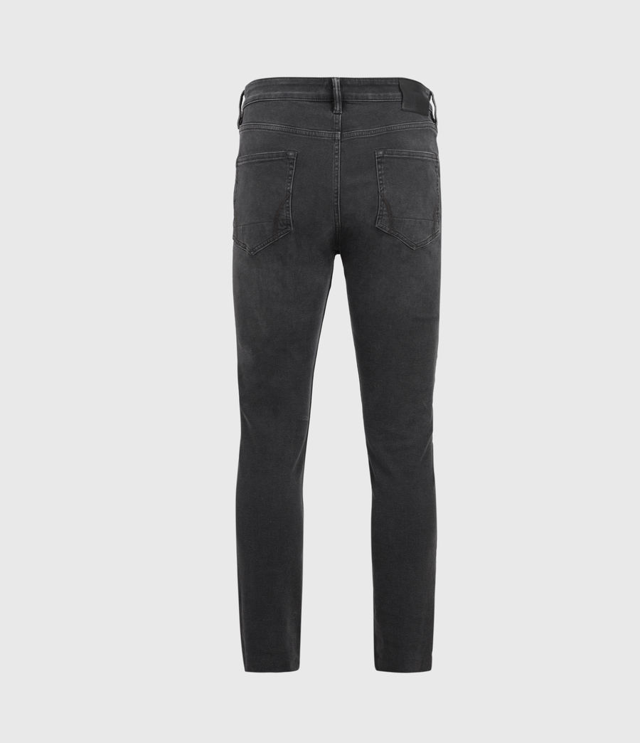 Mens Cigarette Damaged Skinny Jeans, Washed Black (washed_black) - Image 2
