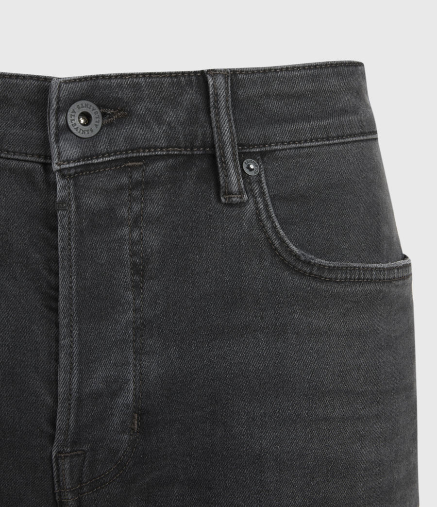 Mens Cigarette Damaged Skinny Jeans, Washed Black (washed_black) - Image 3