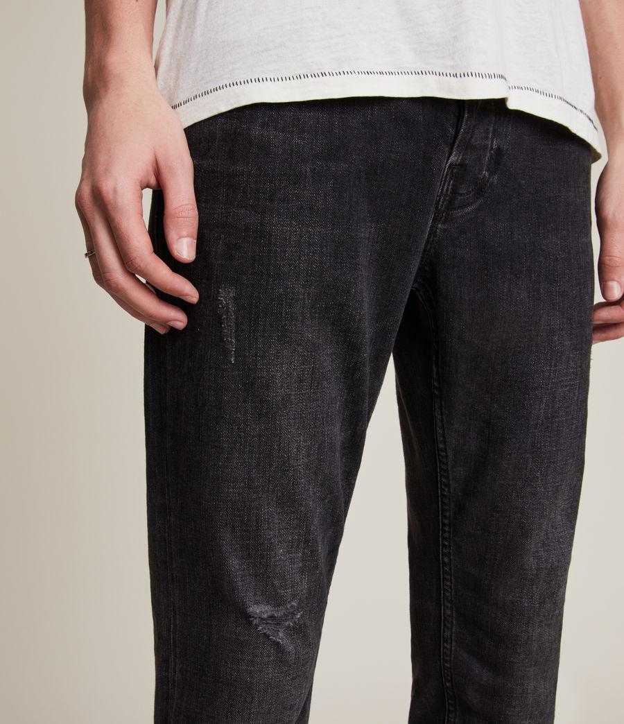 Mens Rex Slim Jeans, Washed Black (washed_black) - Image 3