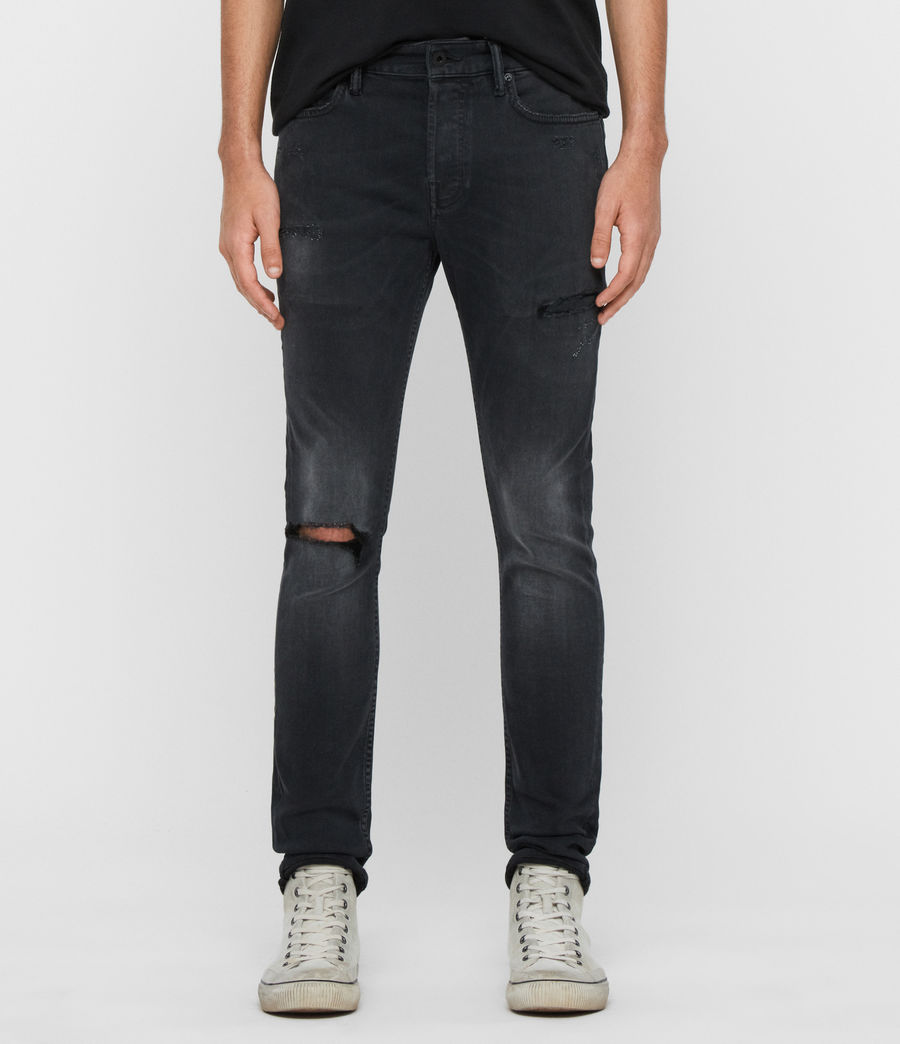 Men's Cigarette Damaged Skinny Jeans, Washed Black (washed_black) - Image 1