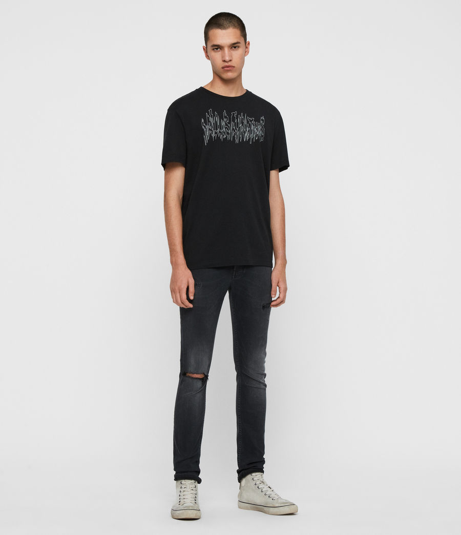 Men's Cigarette Damaged Skinny Jeans, Washed Black (washed_black) - Image 3
