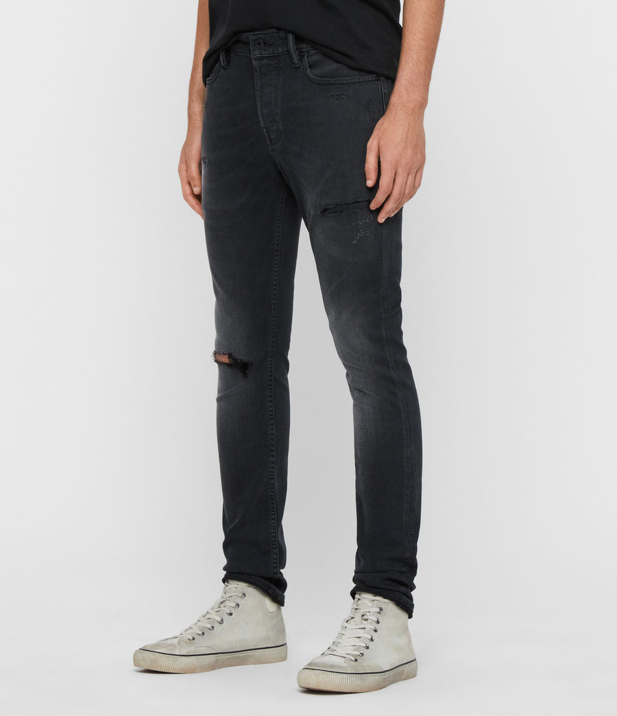 Men's Cigarette Damaged Skinny Jeans, Washed Black (washed_black) - Image 4