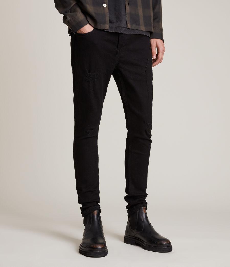 Herren Cigarette Damaged Skinny Jeans, Black (black) - Image 1