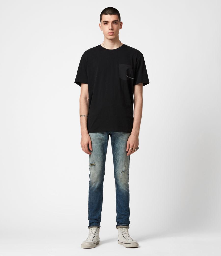 Men's Rex Damaged Slim Jeans, Grunge Indigo (grunge_indigo) - Image 1