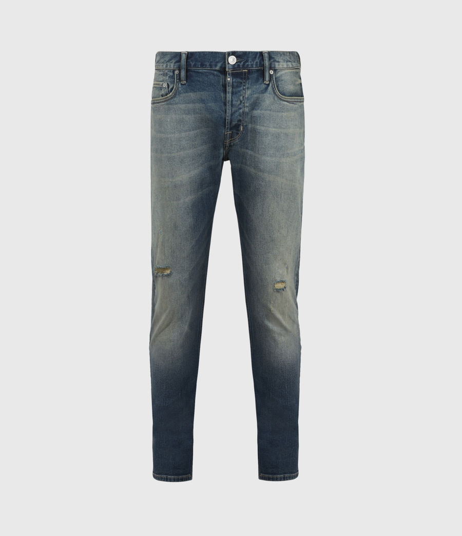 Men's Rex Damaged Slim Jeans, Grunge Indigo (grunge_indigo) - Image 2