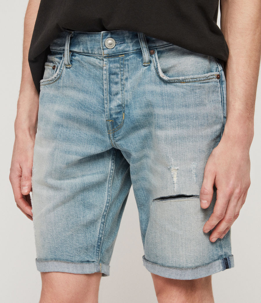 Mens Switch Damaged Denim Shorts (light_indigo_blue) - Image 2
