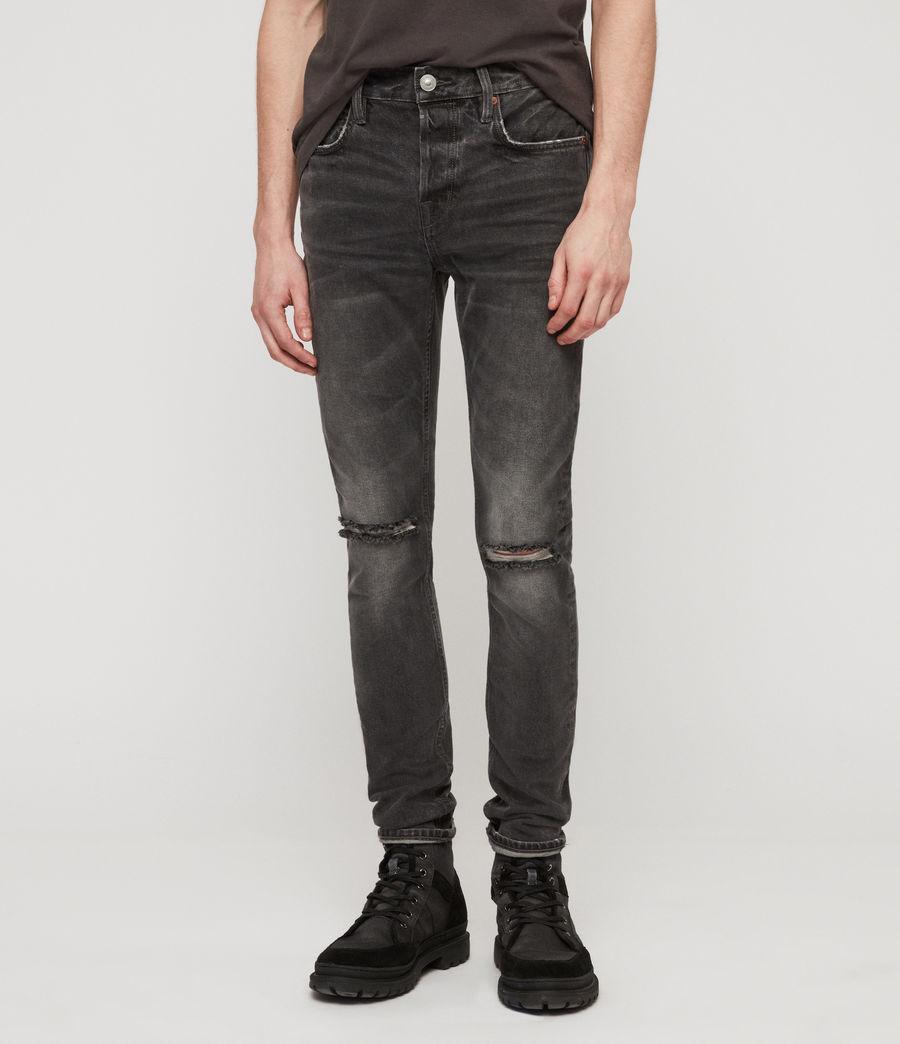 Mens Cigarette Damaged Skinny Jeans, Black (black) - Image 1