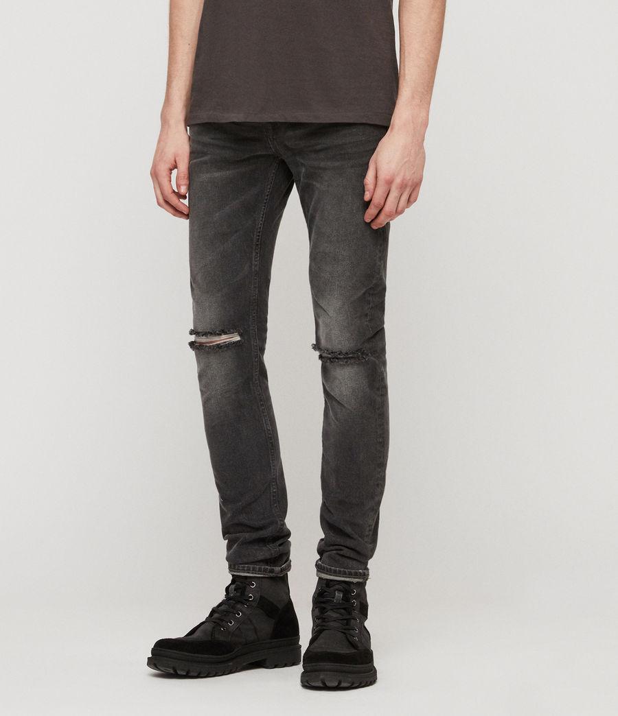 Men's Cigarette Damaged Skinny Jeans, Black (black) - Image 2