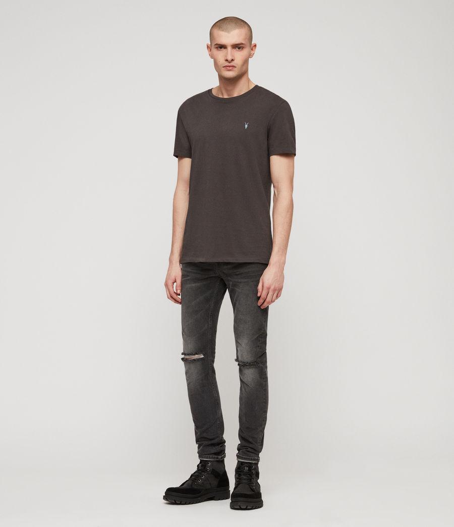 Mens Cigarette Damaged Skinny Jeans, Black (black) - Image 3