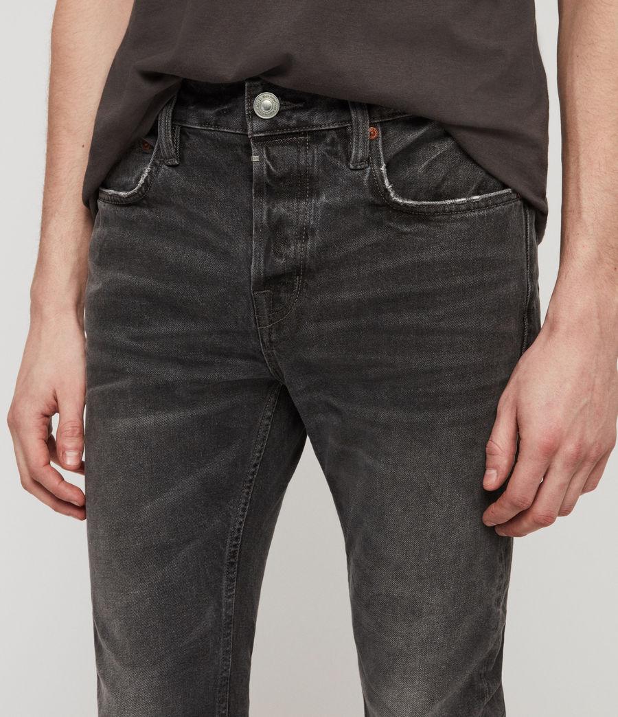 Men's Cigarette Damaged Skinny Jeans, Black (black) - Image 4
