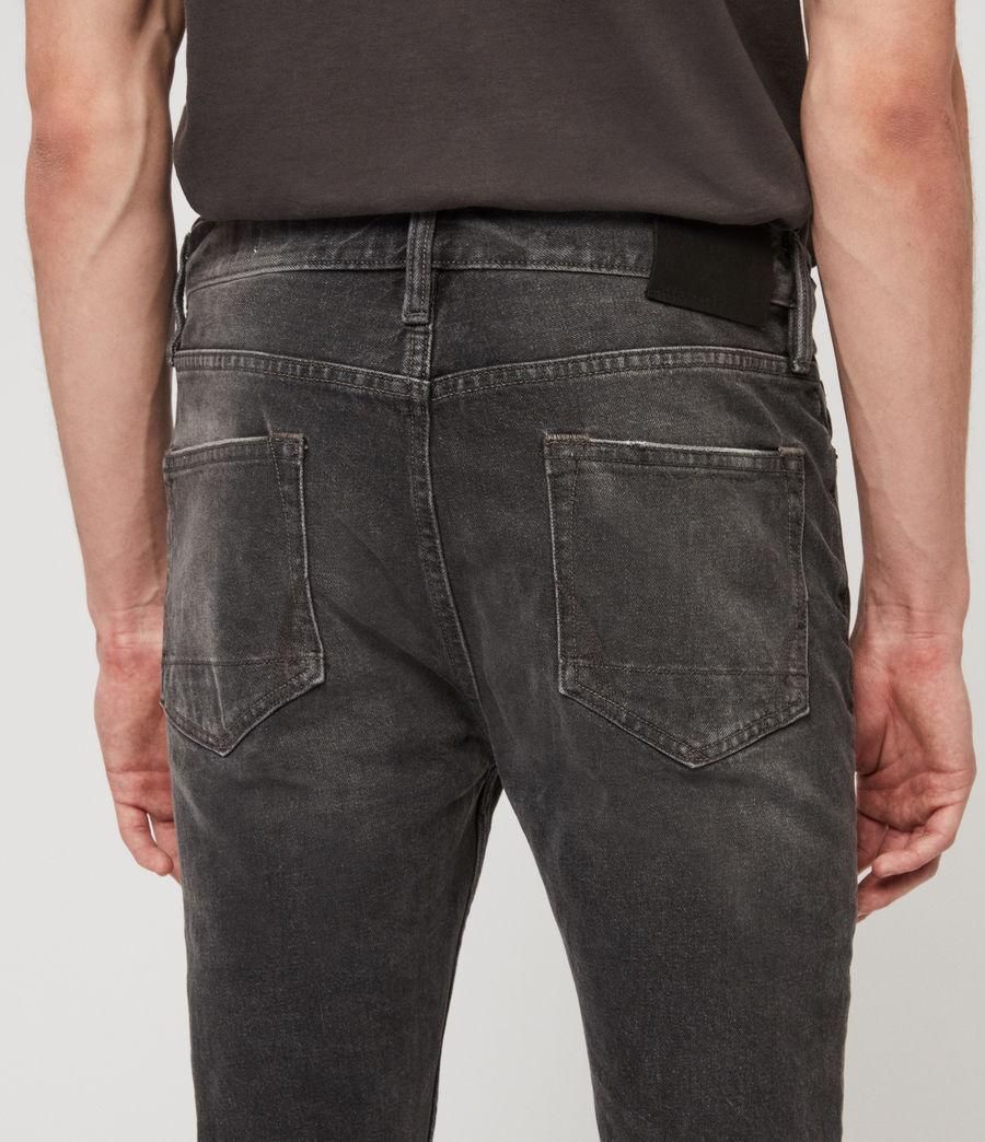 Mens Cigarette Damaged Skinny Jeans, Black (black) - Image 5
