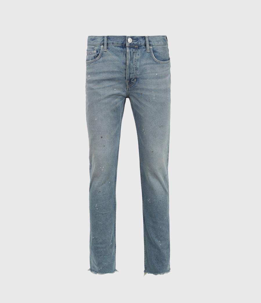 Mens Dean Damaged Slim Jeans, Mid Indigo (mid_indigo) - Image 1