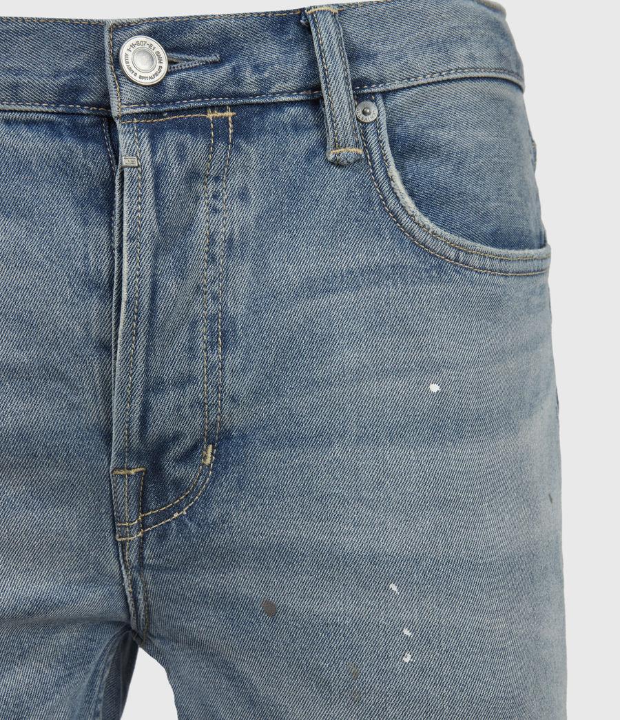 Mens Dean Damaged Slim Jeans, Mid Indigo (mid_indigo) - Image 3