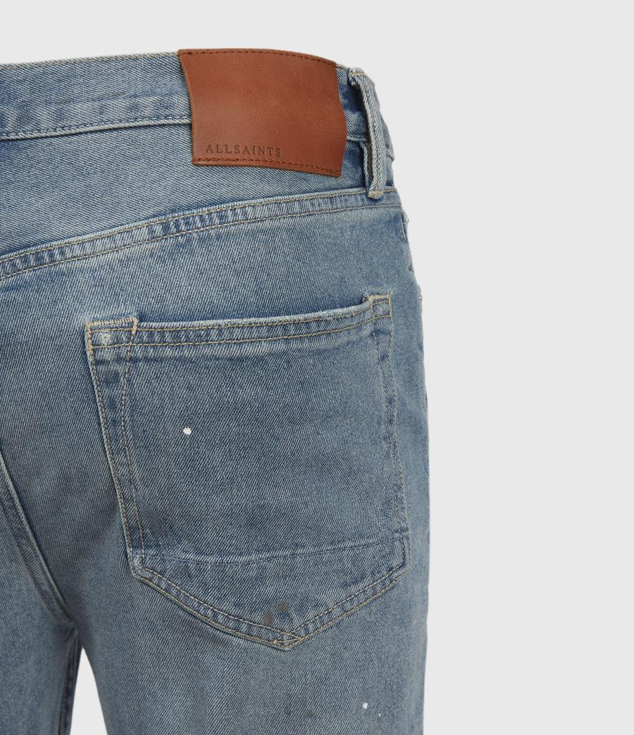 Mens Dean Damaged Slim Jeans, Mid Indigo (mid_indigo) - Image 4