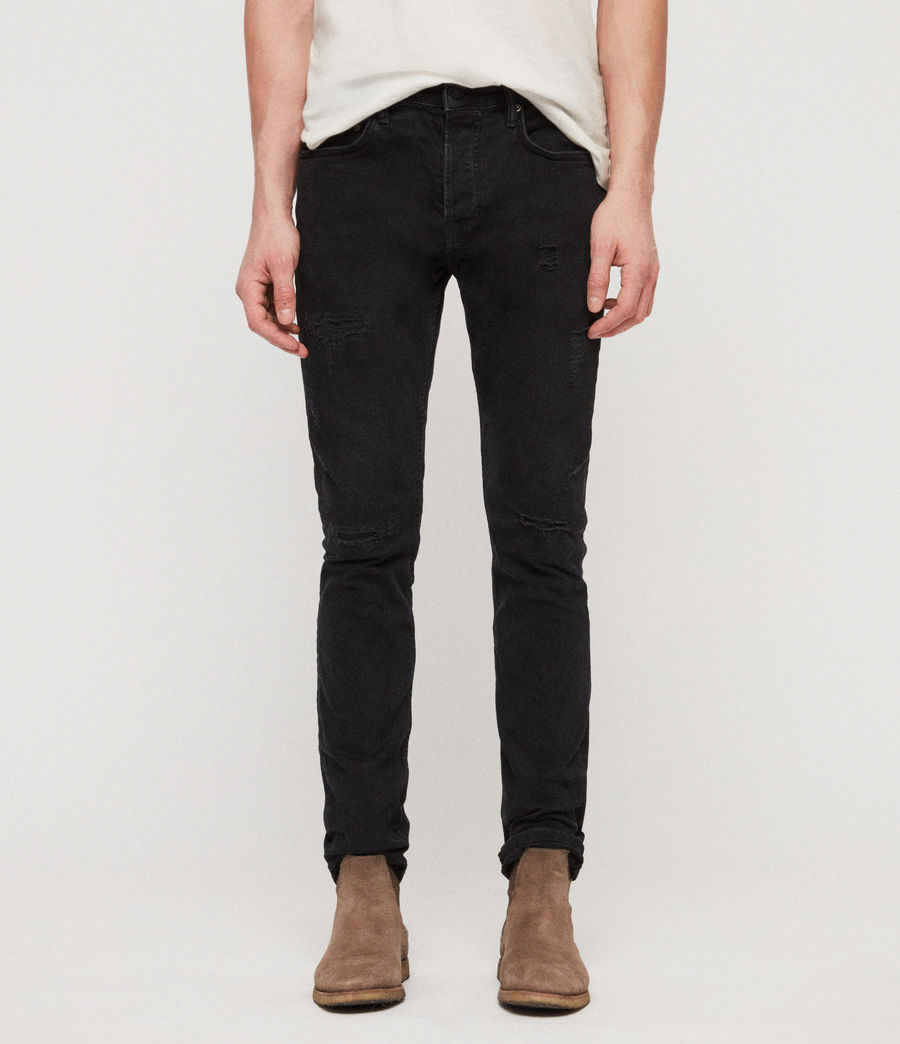 Men's Cigarette Damaged Skinny Jeans, Jet Black (jet_black) - Image 1
